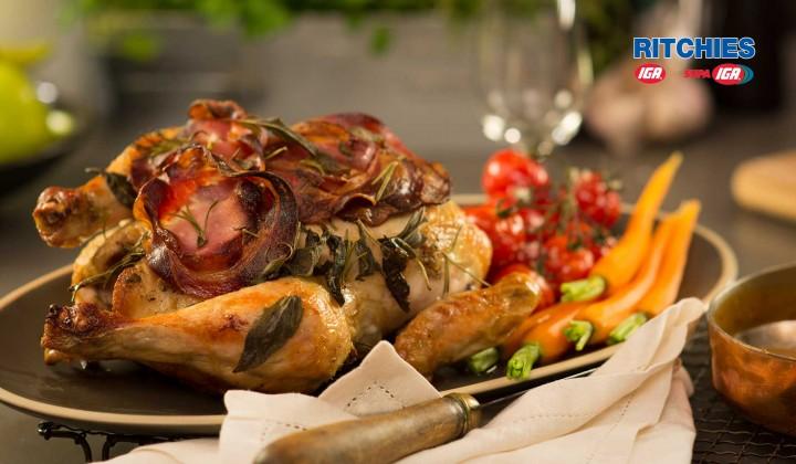 Roast chicken with pancetta and sage