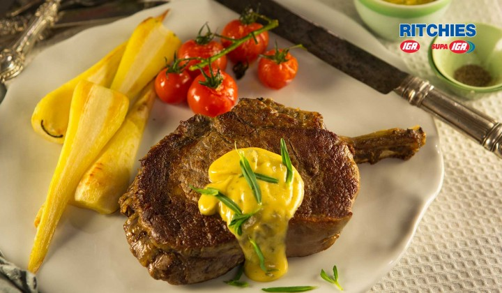 Beef Rib-eye with easy béarnaise sauce